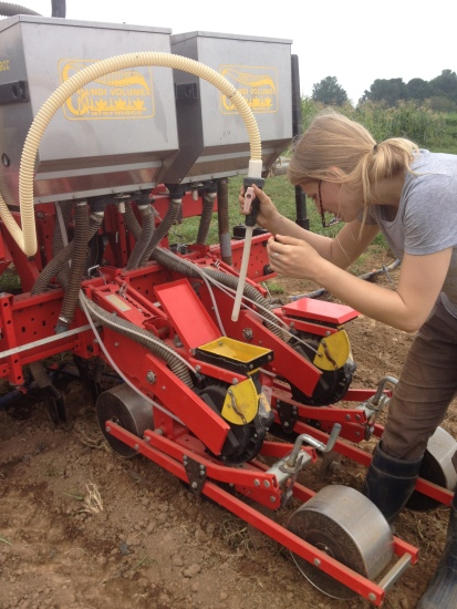 Here is Maggie with the vacuum seeder.